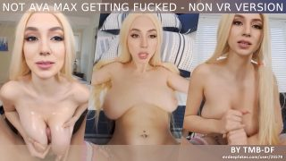 Naughty Ava Max riding on dick then getting cum on boobs – fake porn
