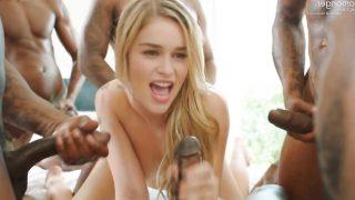 Blonde Emilia Clarke surrounded by big black cocks – fake celebrity porn