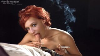 Hot milf Gillian Anderson smokes & sucks a cock [Fake Scene]